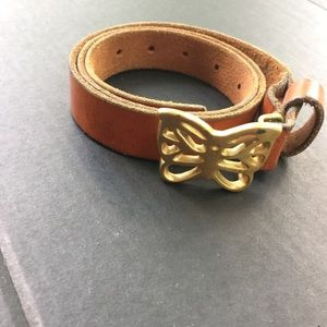 Vintage Genuine leather belt brass butterfly buckl